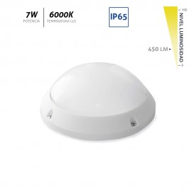 Aplique LED superficie redondo blanco IP65 7W 450Lm