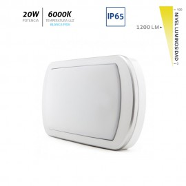 Aplique LED superficie para exterior plata IP65 20W 1200Lm