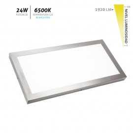 Plafón LED superficie Aristóteles níquel 24W 6500K