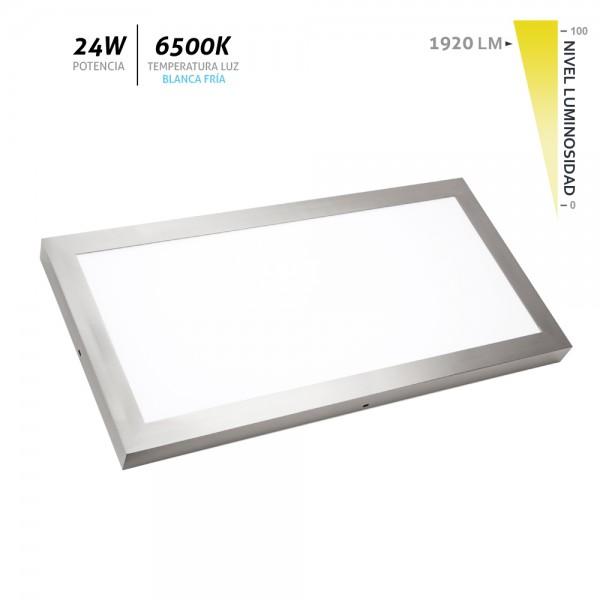 Plafón LED superficie Aristóteles níquel 24W 6500K