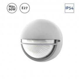 Plafón exterior circular con visera plata 60W E27