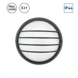 Plafón exterior circular negro grande con rejilla 100W E27