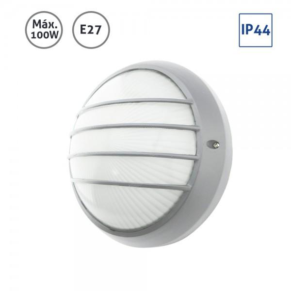 Plafón exterior circular plata grande con rejilla 100W E27