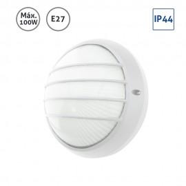 Plafón exterior circular blanco grande con rejilla 100W E27