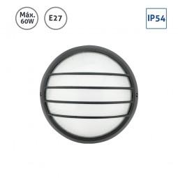 Plafón exterior circular negro pequeño con rejilla 60W E27