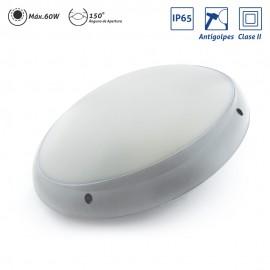 Plafón exterior ovalado IP65 Clase II antivandálico Gris