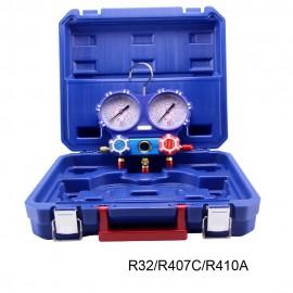 Estuche analizador 2 válvulas R32, R407 y R410 diam. 80