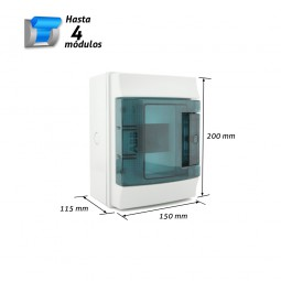 Caja de distribución superficie estanca 4 módulos MISTRAL