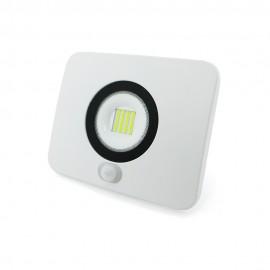 Proyector LED aluminio fundido blanco con sensor crepuscular 30W