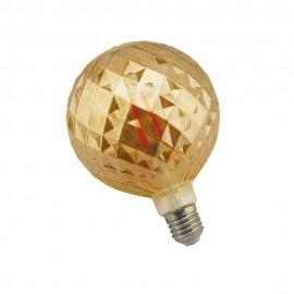 Bombilla filamento led globo diamante G120 E27 8W Ámbar