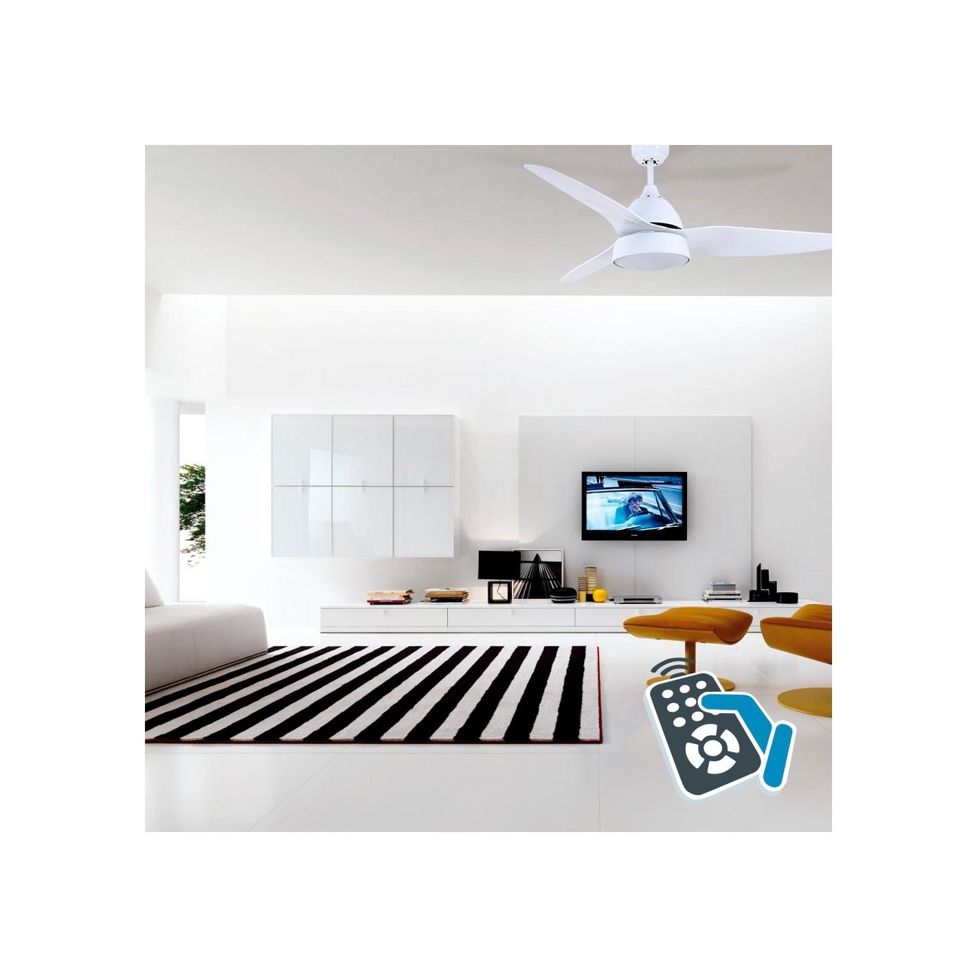 Ventilador de techo con luz serie aut n blanco alg sistemas - Luz de techo ...