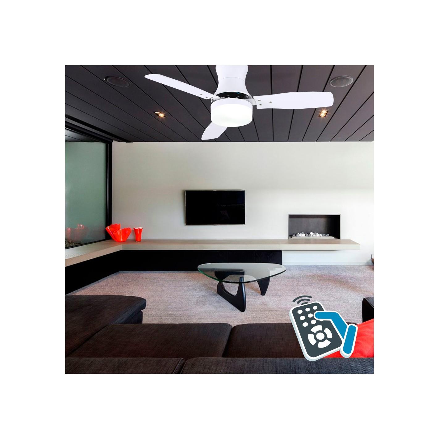 Ventilador de techo con luz serie bur n blanco alg sistemas for Ventilador de techo blanco con luz