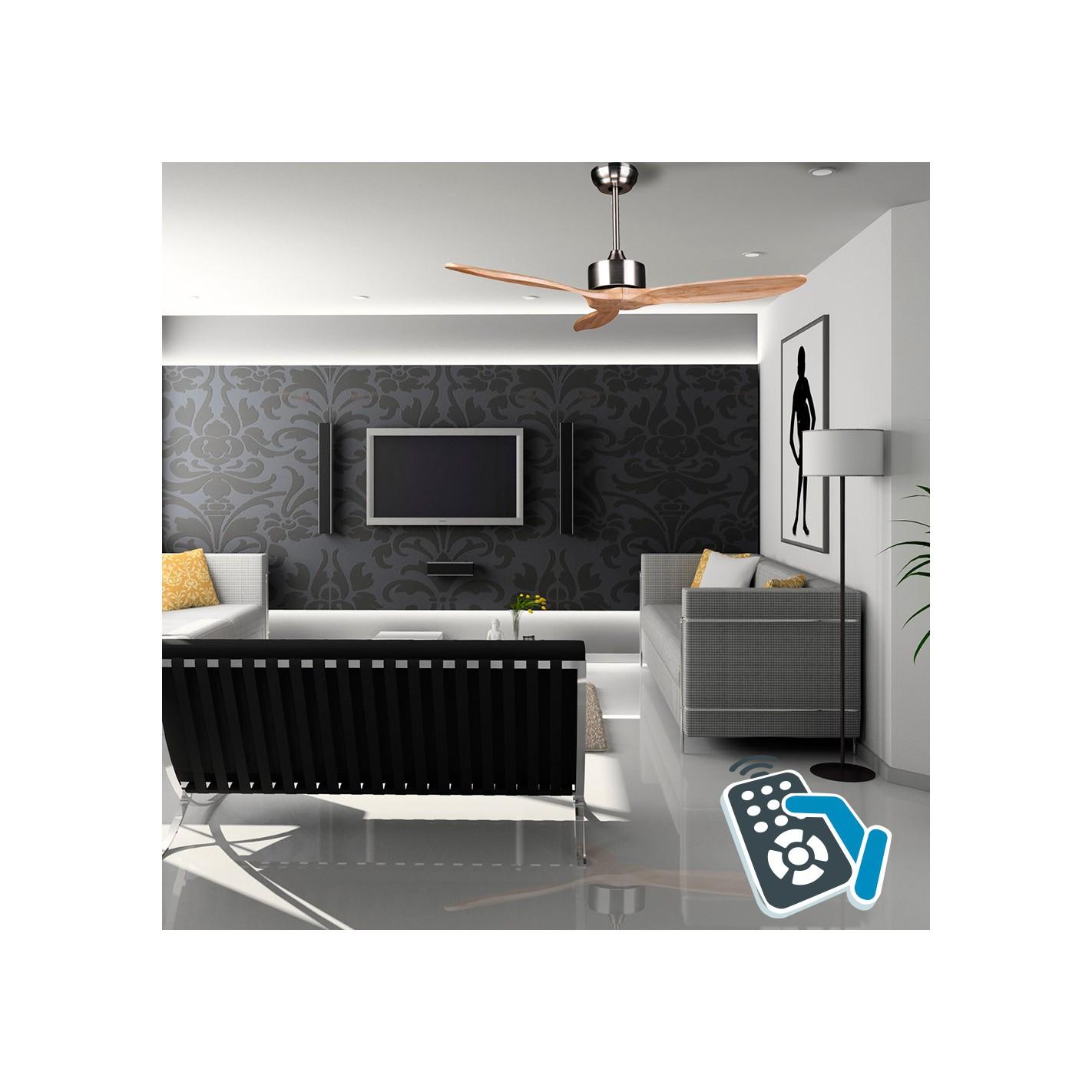 Ventilador de techo dc sin luz serie arime chromo madera - Ventiladores de techo sin luz ...