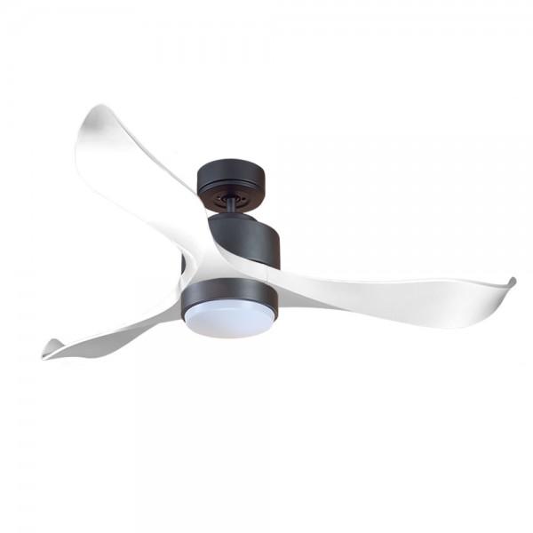 Ventilador de Techo MOTOR DC1 Negro Aspa P2 blanca 132cm Luz L1 Negra