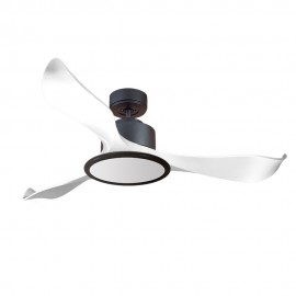 Ventilador de Techo MOTOR DC1 Negro Aspa P2 blanca 132cm Luz L2 Negra