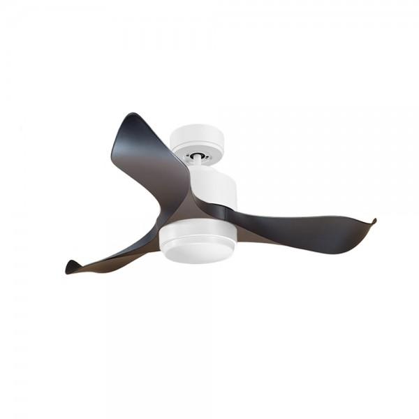 Ventilador de Techo MOTOR DC4 Blanco Aspa P1 Negra 106cm Luz L1 Blanca