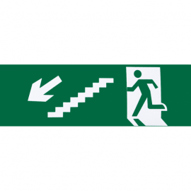 Adhesivo Salida  Emergencia Escalera Izquierda   Bajada 6,5x20