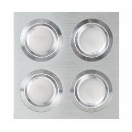 Plafon Foco Empotrar Aluminiocromo 4xg10 Incluida 24w 4000k 2400lm 17,5x17,5x2 Androide