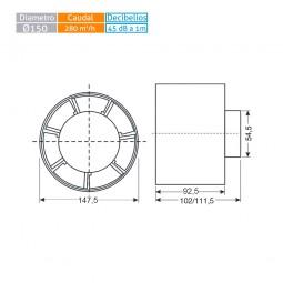 Extractor tubular intercalar en conducto MU TU 6 circular