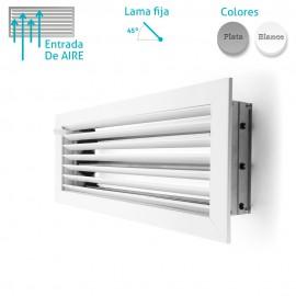 Rejilla Aluminio Lamas Horizontales Fijas 45º con Compuerta de Regulación de Caudal