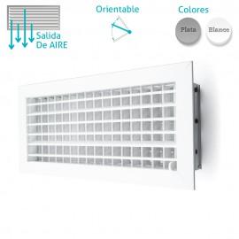 Rejilla de ventilación doble deflexión horizontal con compuerta de regulación
