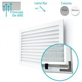 Rejilla Aluminio Lamas Horizontales Fijas 45º Con Malla Trasera para Exterior