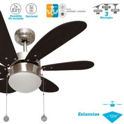 Ventilador de techo con luz Serie Delfín Niquel/Wengué