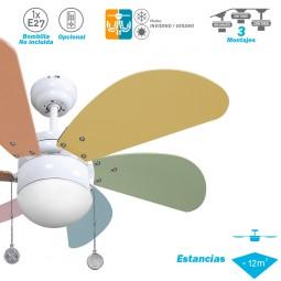 Ventilador de techo con luz Serie Delfín Blanco/Colores