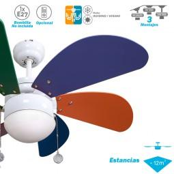 Ventilador de techo con luz Serie Delfín Colores/Colores