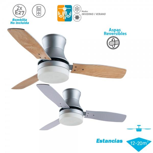 Ventilador de techo con luz Serie BURÁN Plata Haya/Plata