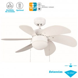 Ventilador Techo Modelo Tabit Blanco Motor AC 6 palas 1xE27