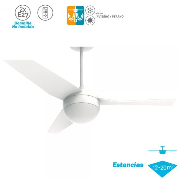 Ventilador Techo Modelo Capri Blanco Motor AC 3 palas 2xE27
