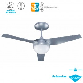 Ventilador Techo Modelo Capri Plata Motor AC 3 palas 2xE27