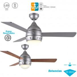 Ventilador de techo con luz Serie LOMBARDA Plata Haya/Plata