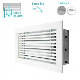 Rejilla Aluminio Lineal Con Marco Inclinación 0º Con Compuerta de Regulación de Caudal