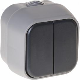 Interruptor Doble  Bert Ip54 Gris 7x7x5