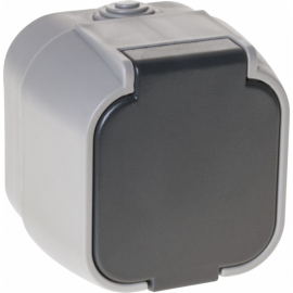 Base Enchufe Con Tapa Bert Ip 54 Gris 7x7x6