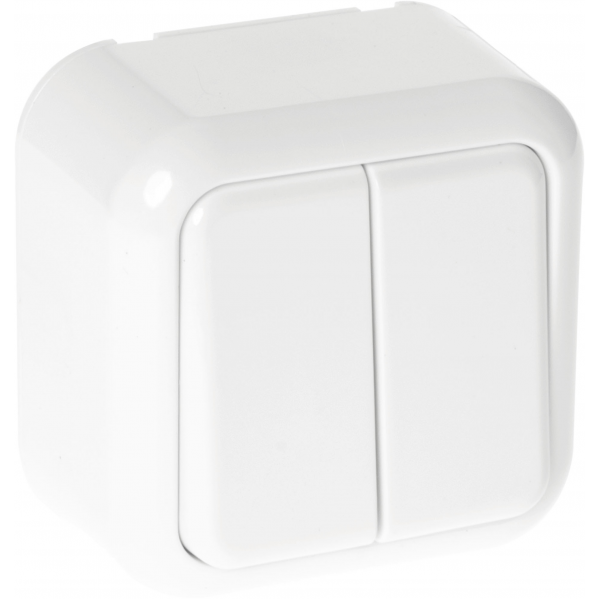 Comutador Doble Ancient 2 Teclas Blanco 6x6x4