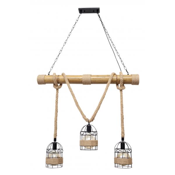 Lámpara Soga 3xe27 Cuerda De Cañamo