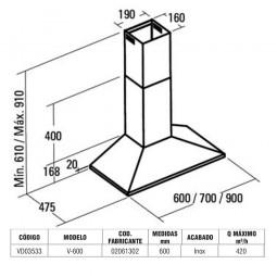CAMPANA V 600 INOX  L-600mm