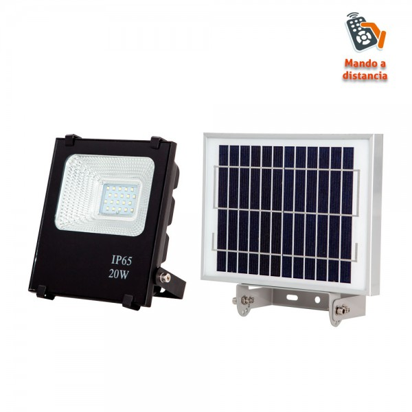 Proyector Solar 20w 1600lm 6500k Oraculo Negro (17x15,5x5) (24x18x2,5) Intensidad Regul