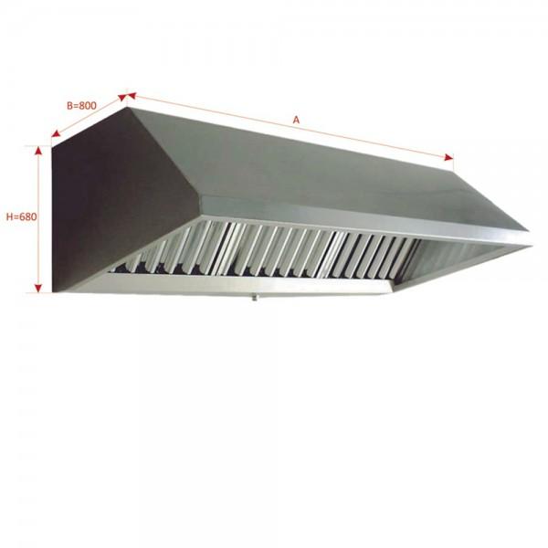 CAMPANA MURAL IC EXCLUSIVE CON VENTILADOR 9/9 3/4CV 2000X800X680 FILTROS INCLUIDOS