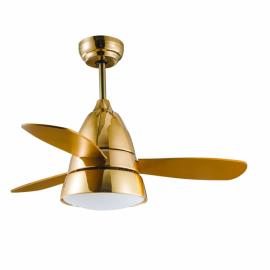 Ventilador Iseran Oro Frances  2xe27 3 Aspas  Metacrilato Acido 33,507d Controlremoto