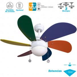 Ventilador de techo con wifi Serie Delfín Colores