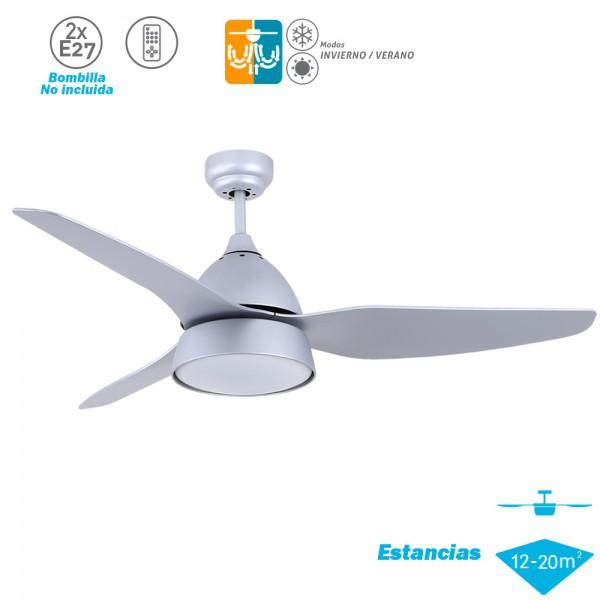 Ventilador de techo con luz Serie AUTÁN Plata Haya/Plata