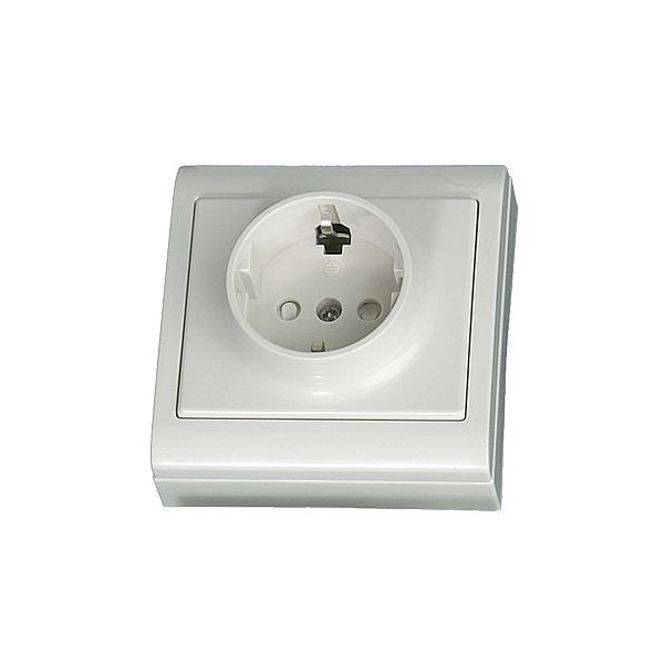 Base superficie LG80 Focus, schuko con T/T lateral blanca