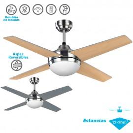 Ventilador de techo con luz Niquel/Plata-Haya Serie Eolo