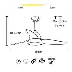Ventilador de techo Brisa luz led y mando incluido