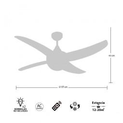 Ventilador de techo con luz Niquel/Haya Serie Osiris