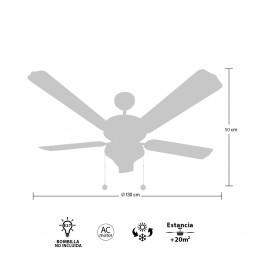 Ventilador de techo con luz Serie Orión Cuero/Roble